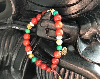 Magic Wish Mala Bracelet   Authentic Raja Kayu Wood   Natural Turquoise   Jasper   Coconut Shell   Mala Beads   Manifest Wishes   Protection