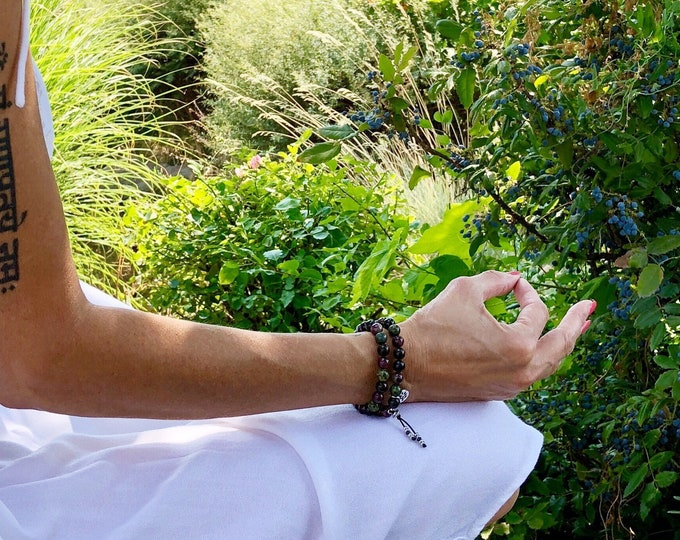 Featured listing image: Energy Clearing Double Mala Bracelet | Luxury Tourmaline | Mala Beads | Energy Detox | Empath Protection | Eases Depression Anxiety Fear