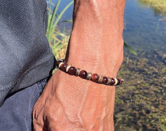 Men's Love & Trust Mala Bracelet | Luxury Red Tigers Eye | Coconut Wood | Healing Mala Beads | Strength | Grounding | Unconditional Love