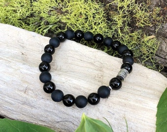 Resilience Mala Bracelet | Black Onyx Gemstone Mala Beads | Mani Mantra | Meditation | Protection | Confidence | Endurance | Strength