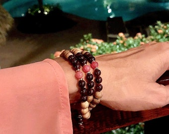Pura Vida Triple Wrap Mala Bracelet | Natural Sandalwood | Rhodochrosite | Brazilian Garnet | Luxury Mala Beads | Love | Enthusiasm | Energy