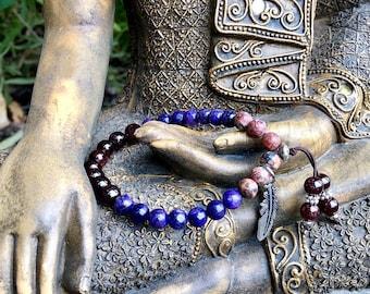 Original Healer Mala Bracelet | Purple Charoite | Red Garnet | Leopard Skin Jasper | Transformation | Overcomes Fear | Divine Insight