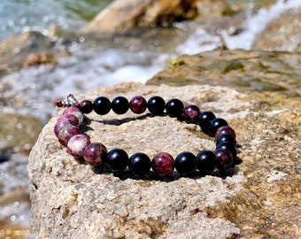 Men's Love & Purpose Mala Bracelet | Luxury Mala Beads | Tourmaline | Obsidian | Garnet | Clears Energy | Self Love | Value | Soul Healing