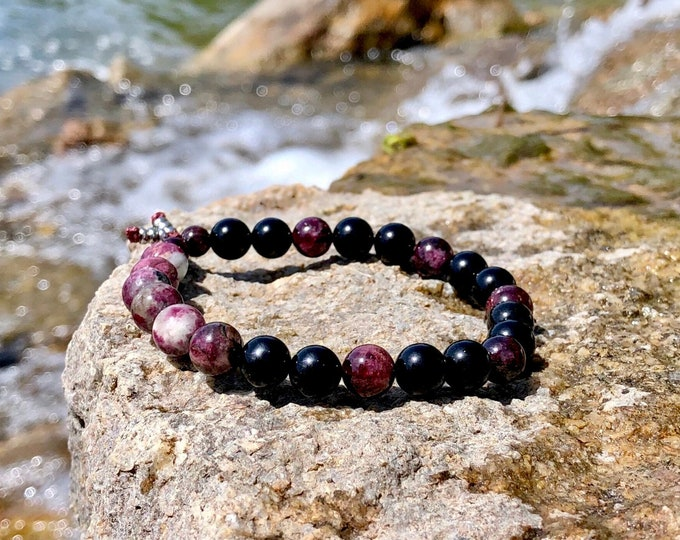 Featured listing image: Men's Love & Purpose Mala Bracelet | Luxury Mala Beads | Tourmaline | Obsidian | Garnet | Clears Energy | Self Love | Value | Soul Healing