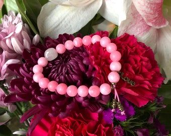 Essence of Love Mala Bracelet | Rose Pink Jade | Rose Quartz | Reiki Infused Mala Beads | Heart Healing | Attracts Love | Soothes Tension