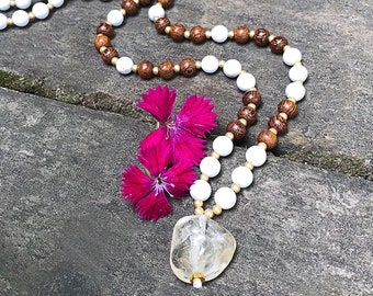 Clear Direction Mala Necklace | Howlite | Madre De Cacao Wood | Citrine | Reiki Infused 108 Mala Beads | Meditation | Clarity | Strong Mind