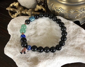 Men's New Opportunity Mala Bracelet | Luxury Rainbow Obsidian | Green Adventurine | Blue Lapis Lazuli | Confidence | Optimism | New Start