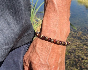 Men's Trust Mala Bracelet | AAA Luxury Red Tigers Eye | Coconut Wood | Healing Mala Beads | Wrist Mala | Reiki | Alert | Strong | Grounded
