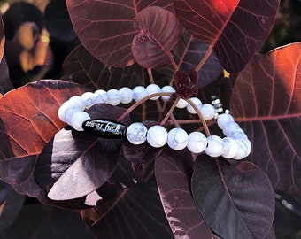 Relaxing Zen AF Mala Bracelet   White Grey Magnesite   Black Onyx   Reiki Infused Gemstones   Mala Bracelet   Relieves Anxiety   Calming