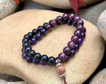 Men's Shiva Double Mala Bracelet | Luxury Natural Gemstone Mala Beads | Amethyst | Red Garnet | Onyx | Eases Worry | Boosts Strength & Drive