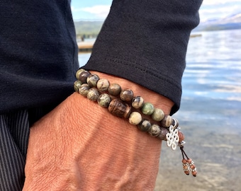 Zakti Strength Set of TWO Mala Bracelets | Natural Agate Mala Beads | Endless Knot Charm | Carved Driftwood Buddha | Resilience | Security