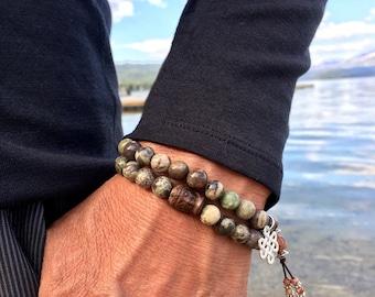 Zakti Strength Set of TWO Mala Bracelets | Natural Agate Mala Beads | Endless Knot Charm | Carved Driftwood Buddha | Resilience | Security