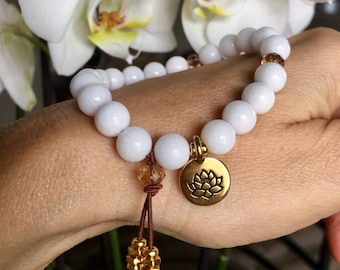 White Lotus Mala Bracelet | Natural White Onyx Gemstones | Chakra Healing | Lotus | Yoga Mala Beads | Clears Confusion | Boosts Strength