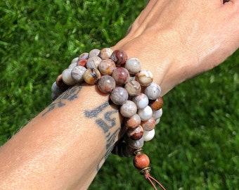 Warm Glow Triple Wrap Mala Bracelet   Laguna Lace Agate   Moonstone   Luxury Mala Beads   Heart Healing   Chakra Balance   Self Acceptance
