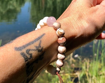 Moksha Love Mala Bracelet | White Coral | Rose Quartz | Crazy Lace Agate | Reiki Infused | Healing Mala Beads | Peace | Self Love | Serenity