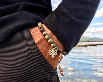 Men's Zakti Strength Mala Bracelet | Rainforest Agate Gemstones | Crystal Healing | Reiki Infused | Balances ALL Chakras | Protection