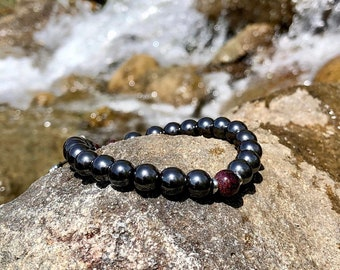Pain Relief Mala Bracelet | High Vibrational Reiki Healing Mala Beads | Hematite | Red Garnet | Grounding | Eases Physical & Emotional Pain