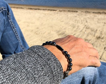 Unfuckwithable Pain Relief Bracelet | Men's Mala Beads | Dark Grey Hematite | Black Onyx | Reiki Infused Wrist Mala | Grounding | Eases Pain