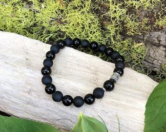Men's Resilience Mala Bracelet | Wrist Mala | Black Onyx Mala Beads | Mani Mantra | Meditation | Yoga | Protection | Confidence | Endurance
