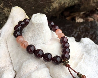 Uplifting Connection Mala Bracelet | AAA Luxury Natural Gemstone Mala Beads | Garnet | Sunstone | Picture Jasper | Intimacy | Love | Trust