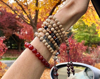 Anything is Possible Bracelet Stack | Luxury Mala Beads | Authentic Sandalwood | Garnet | Red Tigers Eye | Adventurine | Carnelian | Agate