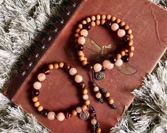 Firefly Bracelet Set | Luxury Mala Beads| Natural Sandalwood | AAA Sunstone | AAA Red Tigers Eye | Aum | Optimism  | Illumination | Magic
