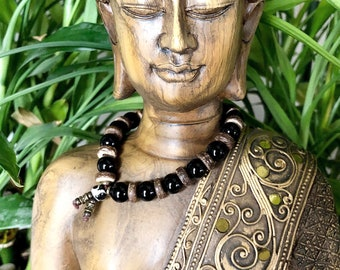 Men's Protection Bracelet   AAA Black Onyx   Natural Coconut Shell   Healing Mala Beads   Strength   Protects Energy Field From Negativity