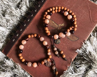 Firefly Mala Bracelet Set | Luxury AAA Gemstones | Natural Aromatic Sandalwood | Sunstone | Red Tigers Eye | Om | Illumination | Magic