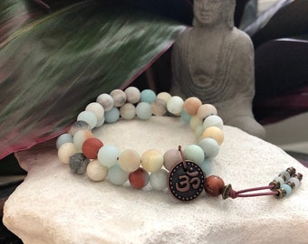 Abundance Double Mala Bracelet | AAA Frosted Amazonite | Healing Mala Beads | Eases Worry | Infuses Confidence | Enhances Communication