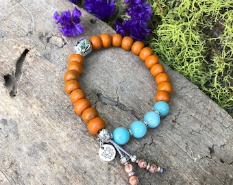 Magical Sandalwood & Amazonite Mala Bracelet | Authentic Reiki Infused Mala Beads | Bohemian Mala Bracelet | Success | Clarity | Enthusiasm