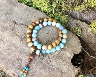 Sattva Double Mala Bracelet | Neutral Picture Jasper | Frosted Amazonite | Reiki Infused | Healing Mala Beads | Comfort | Abundance | Luck