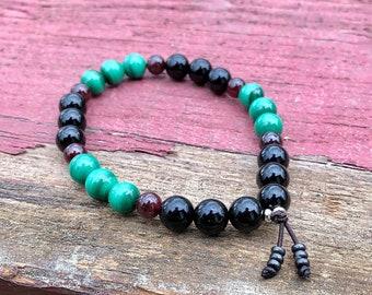 Men's Paradise Healer Mala Bracelet | Black Onyx | Natural Malachite | Red Garnet | AAA Mala Beads | Transformation | Physical Energy