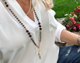 Alive With Pleasure Mala Beads | Luxury Boho Mala Necklace | Brazilian Garnet | Rosewood | Graywood | Citrine | Passion | Success | Joy