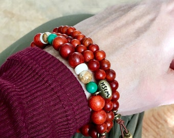 Magic Wish Mala Bracelet Stack | Authentic Raja Kayu Wood | Natural Turquoise | Jasper | Coconut Shell | Healing Mala Beads | Manifestation