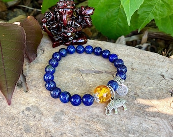 Ultimate Confidence Mala Bracelet | Lapis Lazuli | Citrine | Luxury Gemstone Mala Beads | Reiki Healing | Willpower | Clarity | Success