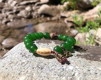 Women's Jade Zen as F#ck Mala Bracelet | Green Jade Gemstones | Reiki Energy Infused Mala Beads | Abundance | Success | Blessings | Zen