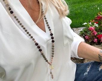 Alive With Pleasure Mala Beads | Luxury Mala Necklace | Brazilian Garnet | Rosewood | Gray Wood | Citrine | Passion | Success | Enthusiasm