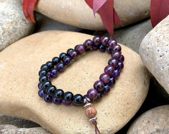 Men's Shiva Double Mala Bracelet | Luxury AAA Gemstone Mala Beads | Purple Amethyst | Red Garnet | Black Onyx | Strength | Resolve | Drive