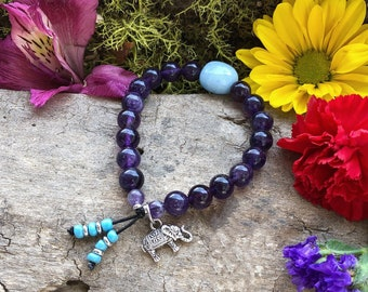Ganesha Focus Mala Bracelet | AAA Purple Amethyst Mala Beads | Blue Aquamarine | Luxury Natural Gemstones | Reiki Infused | Clarity | Peace