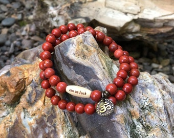 Red Jasper Zen as F#ck Double Mala Bracelet | Reiki Infused Red Jasper Mala Beads | Meditation | Stress Relief | Grounding | Stability