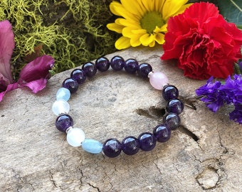 Peaceful Sleep Mala Bracelet | AAA Luxury Amethyst | Selenite | Rose Quartz | Aquamarine | Reiki Infused Mala Beads | Deep Rest | Relaxation