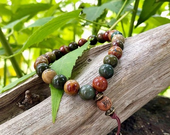 Men's Worthy Mala Bracelet | Luxury Picasso Jasper | Reiki Infused Healing Mala Beads | Purpose | Self Confidence | Attracts Friends