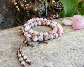 Ananda Bliss Double Mala Bracelet | AAA Luxury Crazy Lace Agate Mala Beads | Reiki Infused | Happiness | Joy |  Laughter | Confidence