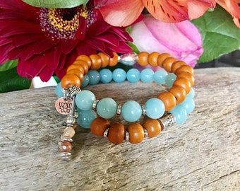 Magical Mala Bracelet Set of TWO | Authentic Sandalwood | AAA Amazonite | Mala Beads | Stack Bracelets | Clarity | Protection | Success