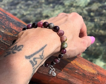 Infinite Love Mala Bracelet | Luxury Rainbow Tourmaline | Brazilian Red Garnet | .925 Silver Infinity Charm | Energy Clearing | Self Love