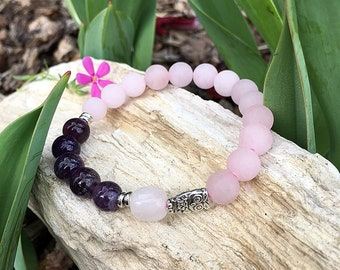 Awakened Heart Mala Bracelet | AAA Purple Amethyst | Frosted Rose Quartz | Silver Owl | Reiki Infused | Mala Beads | Love | Spiritual Growth