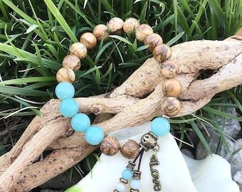 Love & Comfort Mala Bracelet   Luxury Mala Beads   Yoga Bracelet   Boho Wrist Mala   Picture Jasper   Amazonite   Love   Heart Soothing