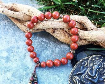 Sweet Relief Mala Bracelet | AAA Red Jasper | AAA Picasso Jasper | Luxury Gemstone Mala Beads | Stress Relief | Increases Life Force Energy