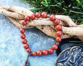 Sweet Relief Mala Bracelet   AAA Red Jasper   AAA Picasso Jasper   Luxury Gemstone Mala Beads   Stress Relief   Increases Life Force Energy