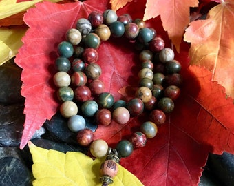 Worthy Triple Wrap Mala Bracelet | Picasso Jasper Mala Beads | Yoga | Meditation | Healing | Reiki | Enhances Confidence and Self Image